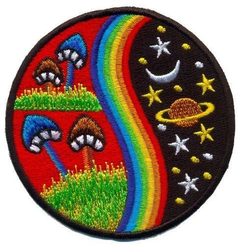 Mushroom Hippie Weed Boho Retro Pot Lsd Love Peace Applique Iron-on Patch T-24 Made of Thailand