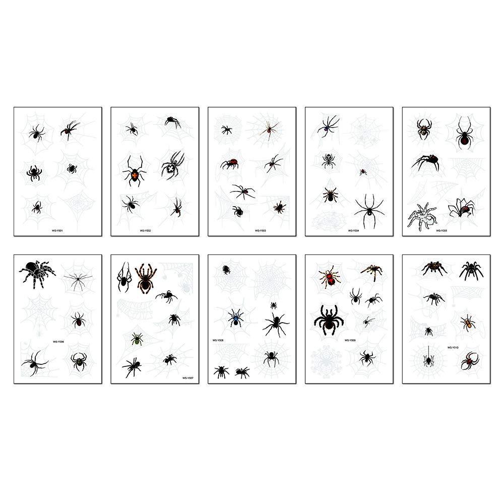 10PCS/Package New Halloween waterproof sweat horror dark 3D stereo spider tattoo stickers spider web tattoo stickers