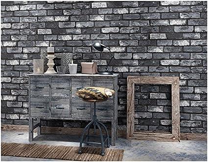 yosot retro 3d brick effect wallpaper bedroom living room tv background wallpaper dark grey