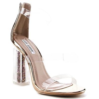 Cape Robbin Maria-7 Lucite Clear Perspex Glitter Block Heel Open Peep Toe Sandal Shoe Rose Gold | Heeled Sandals