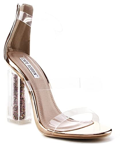 temperament shoes closer at detailed images Cape Robbin Maria-7 Lucite Clear Perspex Glitter Block Heel Open Peep Toe  Sandal Shoe Rose Gold