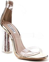 9fe5bc9a4 CAPE ROBBIN Maria-7 Lucite Clear Perspex Glitter Block Heel Open Peep Toe  Sandal Shoe