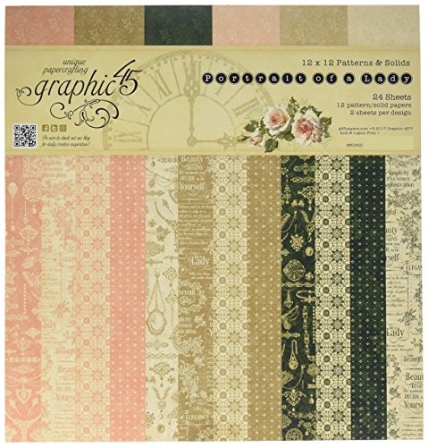 Graphic 45 4501510 Portrait of A Lady 12x12 Patterns & Solids Pad 12