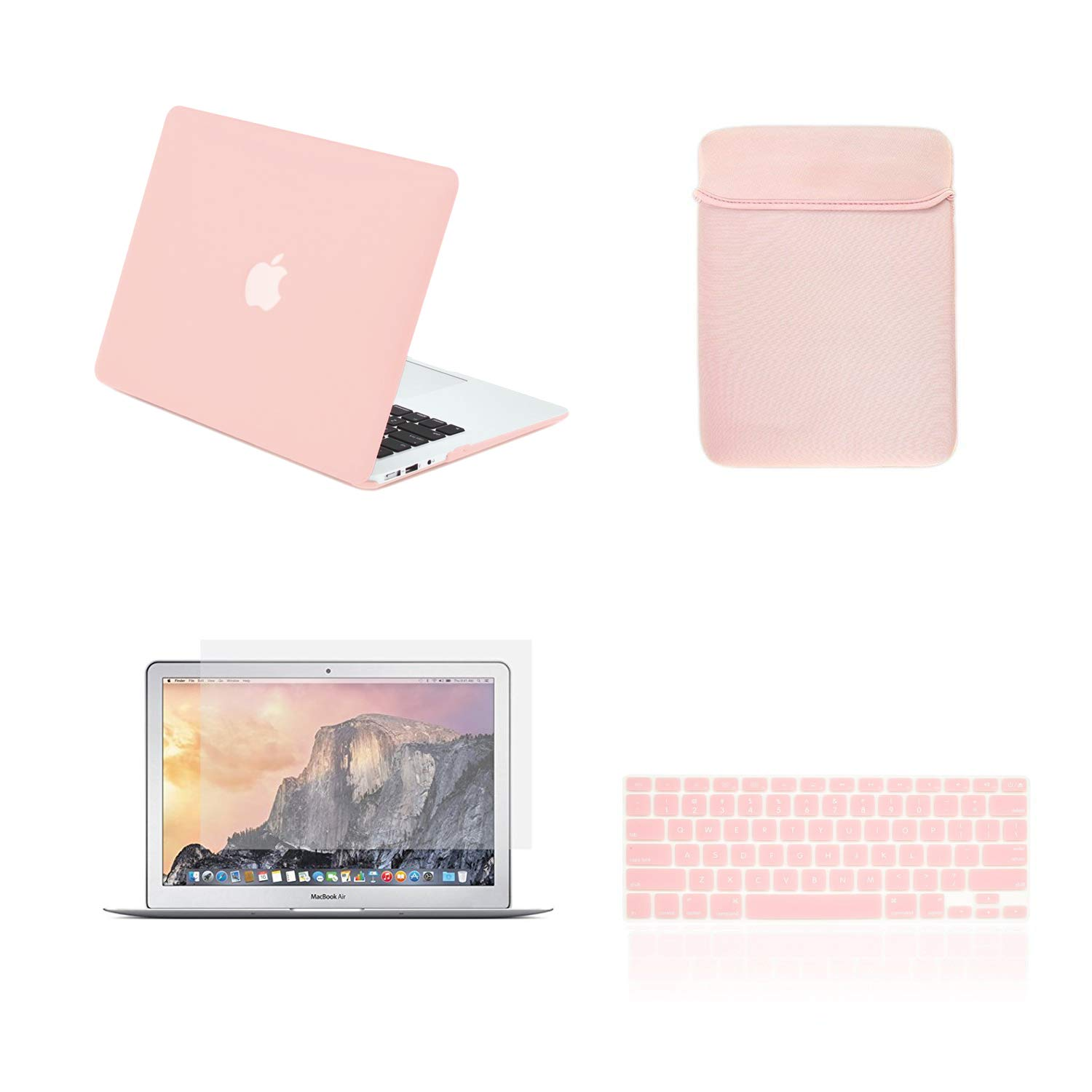 TOP CASE - 4 in 1 Bundle Hard Case, Keyboard Cover, Sleeve Bag, Screen Protector Compatible with Apple MacBook Air 13'' A1369 & A1466 - Rose Quartz