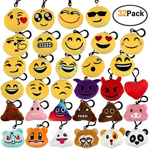 Encheng 32 Pack Emoji Party Favors Emoji Plush Keychain Emoji Party Decorations Supplies Birthday Favors, Small Emoji Keychain for Luggage Backpack Bags & Party Decoration,Car Key Ring Pendant ()