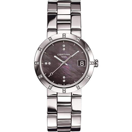 Certina - Reloj Analógico de Cuarzo para Mujer, correa de Acero inoxidable color Plateado: Amazon.es: Relojes