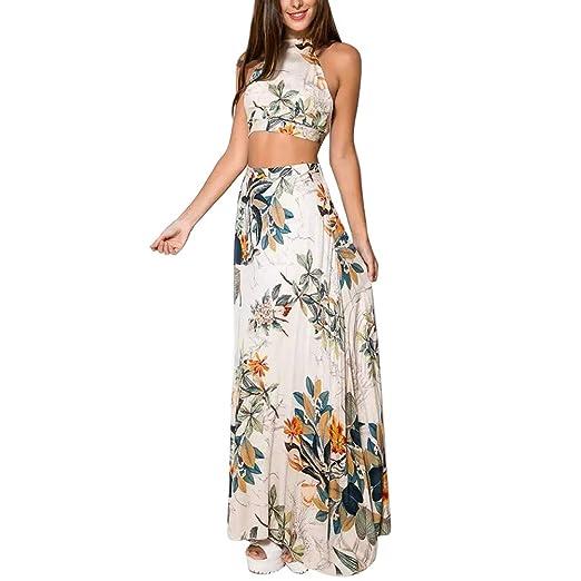 6f40028dbf13 EFINNY Women Floral Bandage Maxi Dresses Beach Two Piece Boho Crop Top Long Skirt  Set White