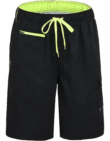 Unitop Men s Colortful Striped Swim Trunks Beach Board Shorts with Lining 8a46187806e