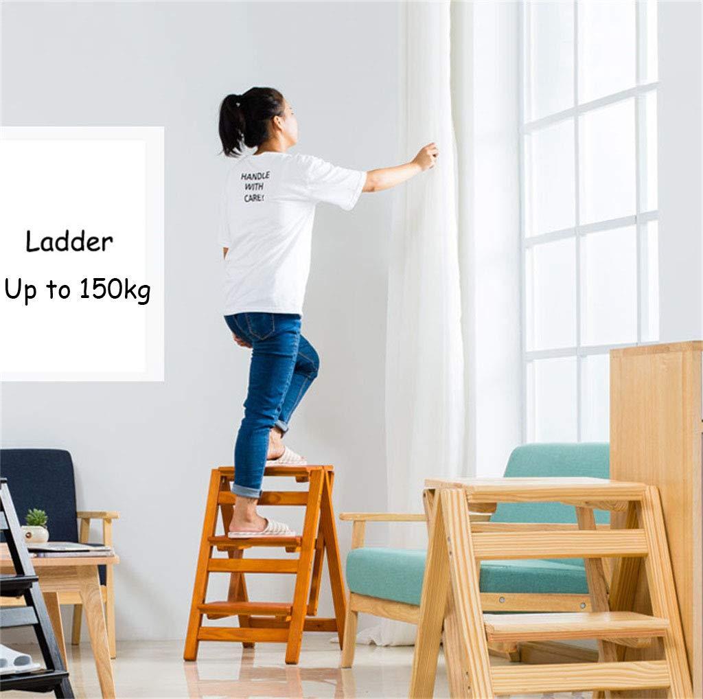 Klapptreppe Klappstufen Klapptritt Trittleiter 3 Stufen aus Holz wei/ß leicht und faltbar f/ür Kind Erwachsene f/ür Bibliothek Loft K/üche Home Dekoration 150 kg Kapazit/ät