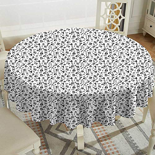 Cranekey Floral Round Tablecloth 54 Inch Numbers,Mathematics Multiplication Square Root Addition Subtraction Equations Monochrome,Black White Great for,Outdoors & More]()