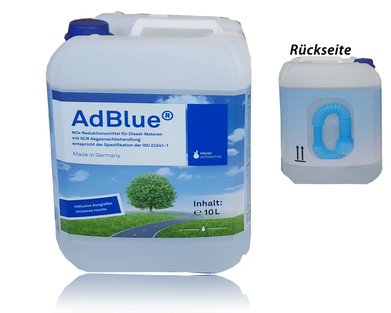 AdBlue - Soluzione di urea ad alta purezza per SCR Post-trattamento gas di scarico Da 10 Litri incluso, Tubo di alimentazione Kruse/Hoyer/blueSky