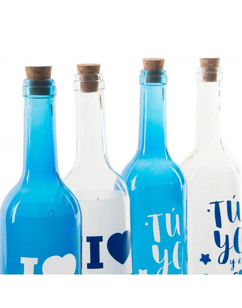 Botella Azul y Blanca de Cristal con Cinco Leds Hogar y Más ...