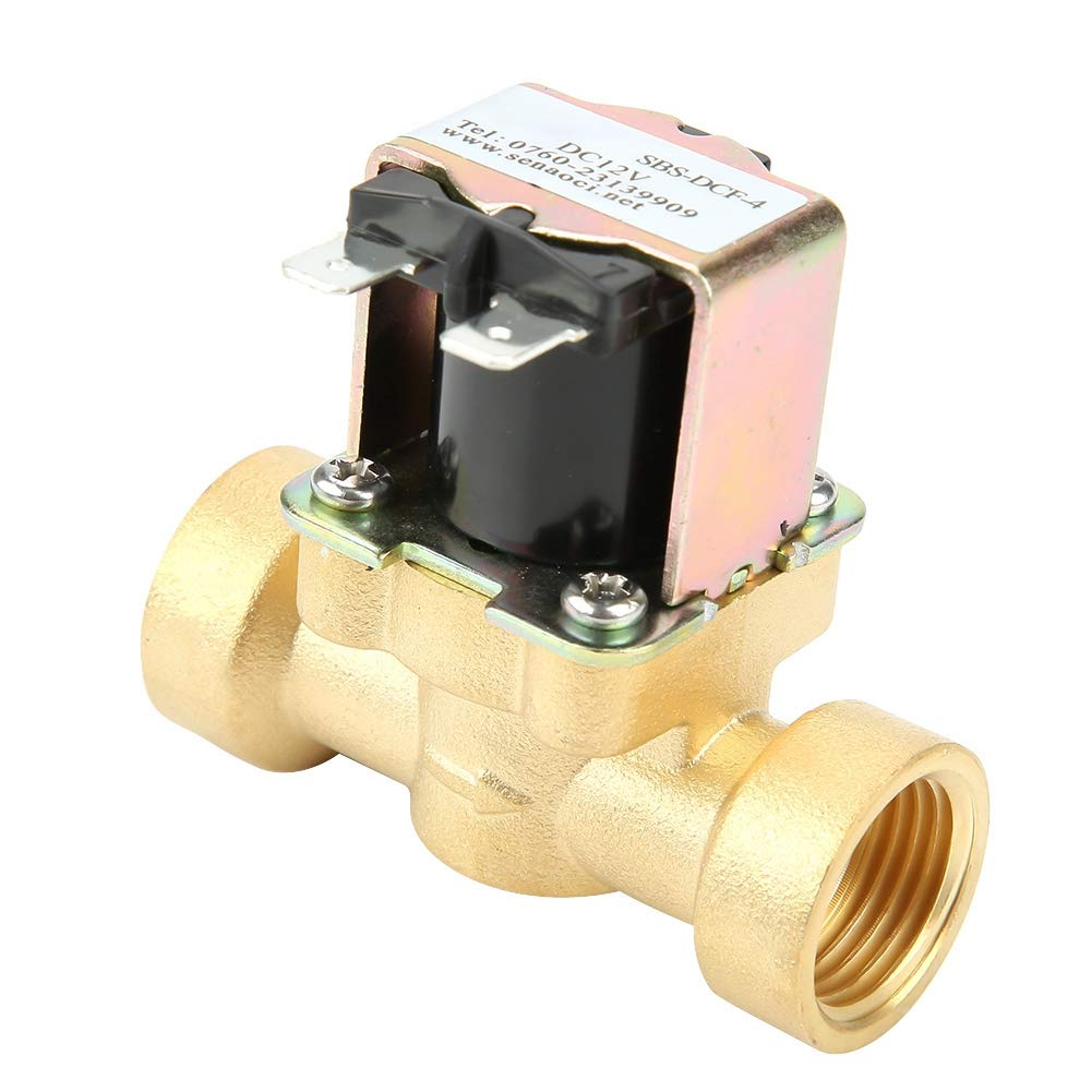 DC 12V Brass DN15 G1//2 Normal Closed Copper Body Water Valve Electric Solenoid Valve for Water Supply Electric Solenoid Valve