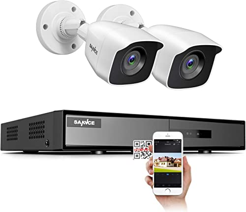 SANNCE Security Camera Systems 4CH 1080N DVR and 2 1080P Weatherproof CCTV Bullet Cameras, Indoor Outdoor Weatherproof Cameras with IR Night Vision LEDs- NO HDD