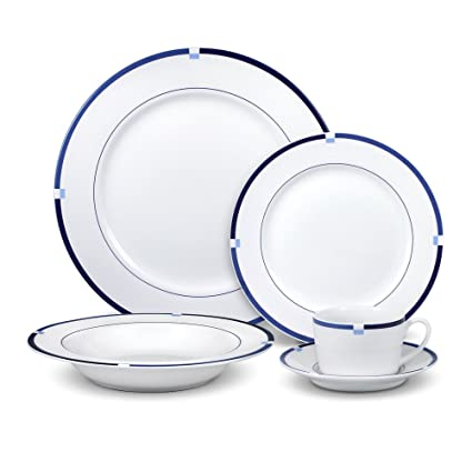 Mikasa Jet Set Blue Dinnerware Set (40 Piece)  sc 1 st  Amazon.com & Amazon.com | Mikasa Jet Set Blue Dinnerware Set (40 Piece ...