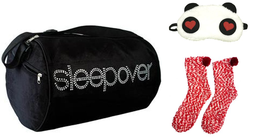 Girls Duffle bag with Eye Mask, Slippers for Age 5-10 (Black)