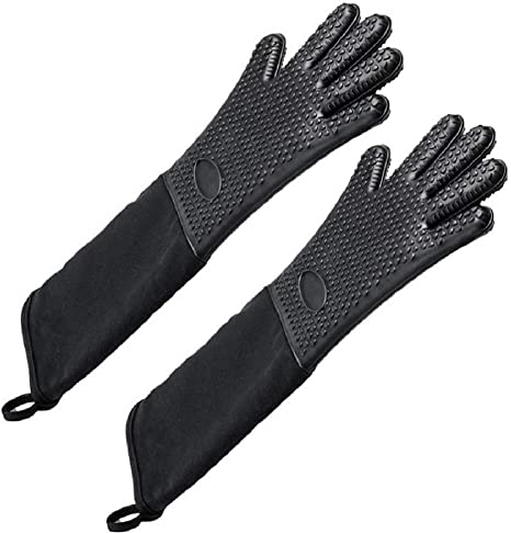 Professional Heat Resistant Glove Set with Quilted Liner for When You Cook 1 Pair Boil YHK Extra Long Silicone Oven Mitts Bake BBQ Grill or Bast Never Burn Your Arms Again Black