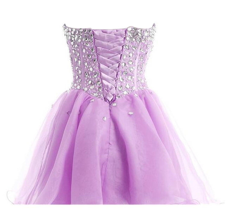 Endofjune Short Strapless Beading And Tulle Cocktail Ball Prom Dress