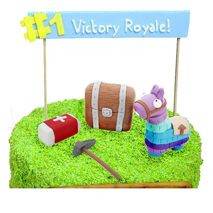 GmakCeder Game Cake Topper Set with Llama Medkit Chest Tool Cake Decoration