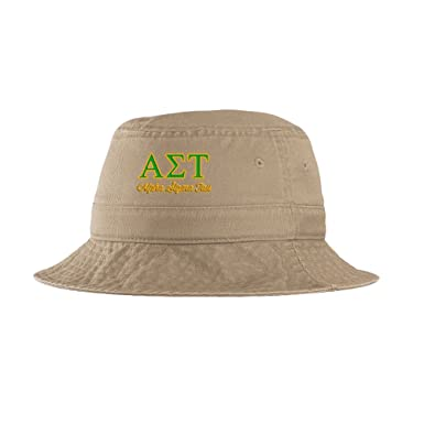Express Design Group Alpha Sigma Tau AST Script Bucket Hat Khaki at ... 7fb0892f494