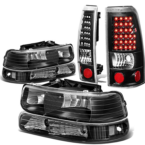 For Chevy Silverado GMT800 4pc Pair of Black Housing Clear Corner Headlight + Black Clear Lens LED Tail Light