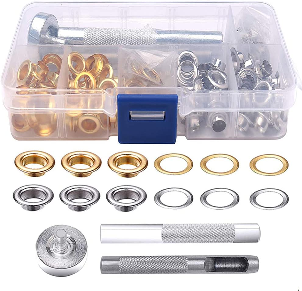 2 Colors Grommet Kit Leather Eyelet Punch Kit Grommets Repair Kit for Tarpaulin Fabric Craft Making KANOSON 100 Sets 1//4 Inch Metal Eyelets with 3 Pieces Install Tool and Storage Box