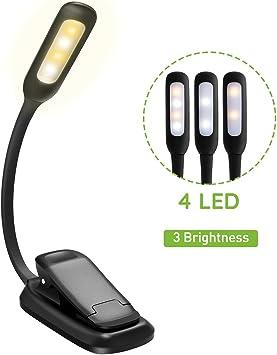 TOPELEK Lampe Liseuse Clip Rechargeable Cou Flexible Lampe Clip pour Lire au Lit 10 LED Lampe de Lecture 3 Modes de Couleur Lampe Clip pour eReaders Noir Lumi/ère Blanc/& Chaud