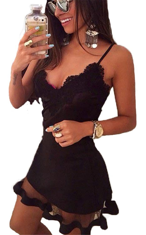 Allonly Women's Sexy Sleeveless Lace Mesh Paneled Bodycon Clubwear Party Dress