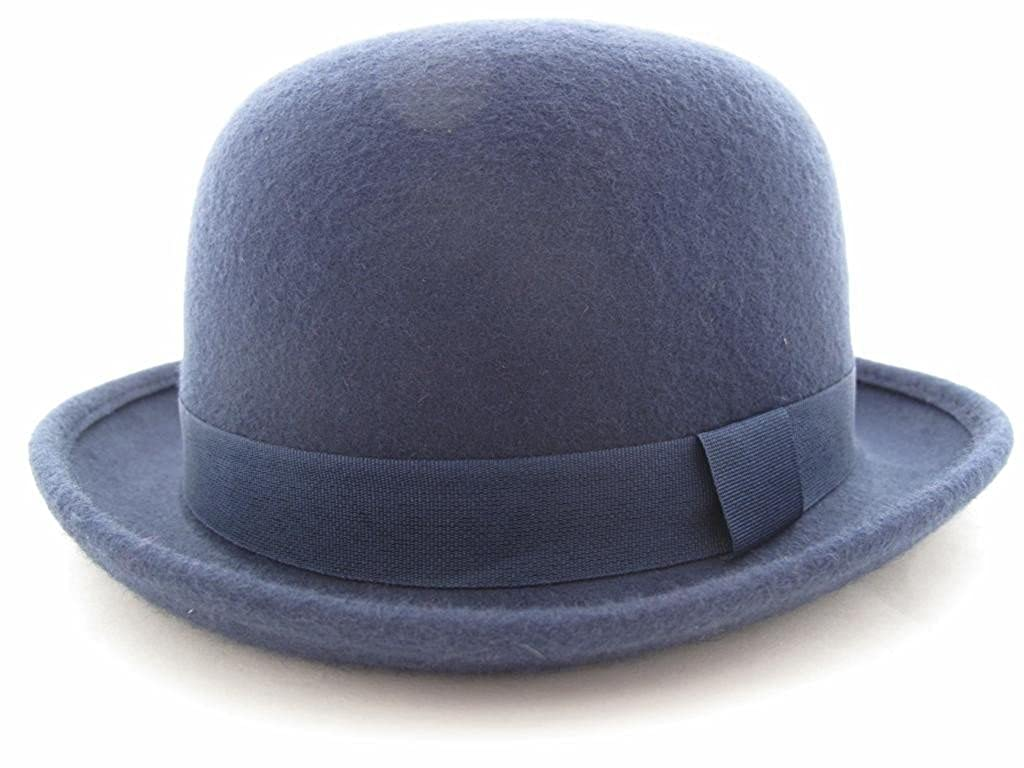 100% Wool Black Bowler Hat Fashion Hat Satin Lining 4 Sizes (Removable Feather)
