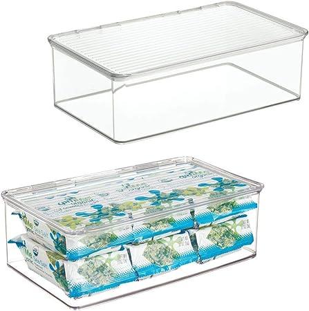 mDesign Juego de 2 cajas organizadoras con tapa – Cajas de ...
