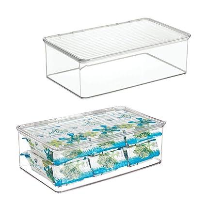 mDesign Juego de 2 cajas organizadoras con tapa – Cajas de almacenaje apilables de 3,1 litros para congelador o frigorífico – Accesorios de cocina de ...