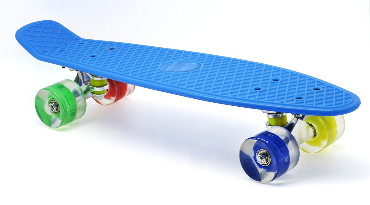 Merkapa 22'' Complete Skateboard with Colorful LED Light Up Wheels for Kids, Boys, Girls, Youths, Beginners(Blue)