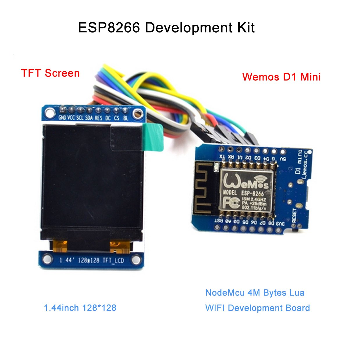 Esp8266 Development Kit With D1 Mini Nodemcu 4m Bytes Wemos Esp 12f Board Lua Wifi And Tft Screen 144inch 128x128 For Internet Of Things By