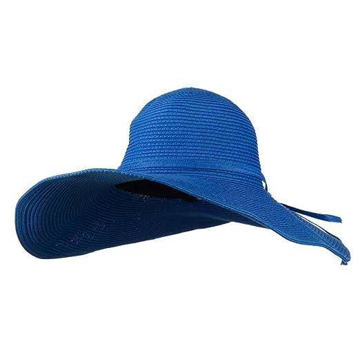 Woman s UPF 50+ Paper Straw Wide Brim Hat - Royal Blue OSFM at ... ca4ec0b7bc5