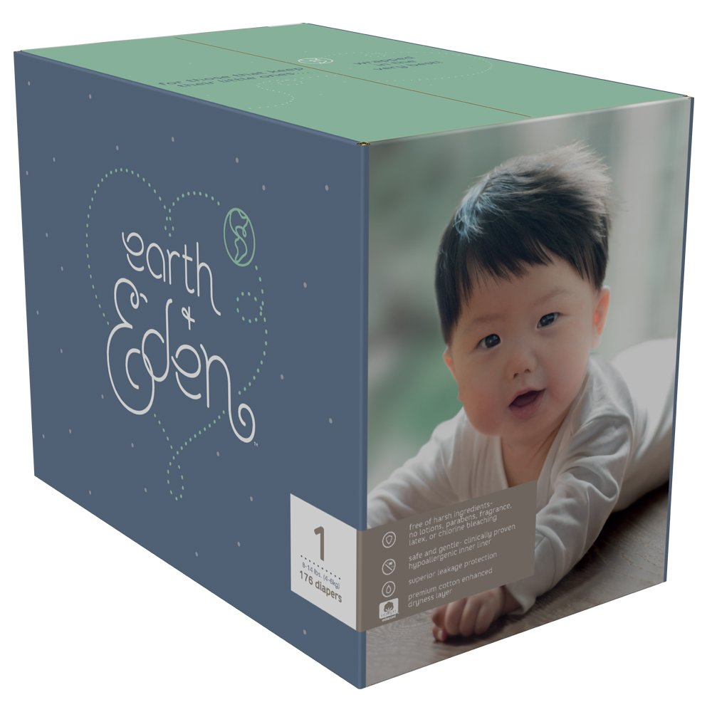 Earth + Eden Baby Diapers, Size 1, 176 Count 10002799