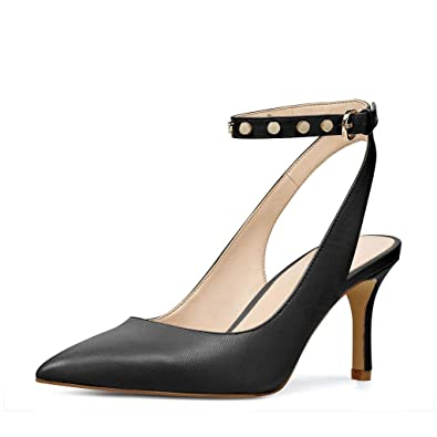 32f8879444b1 YDN Women Low Heel Slingback Pumps with Ankle Strap Pointy Toe Dressy  Studded Shoes Black 4