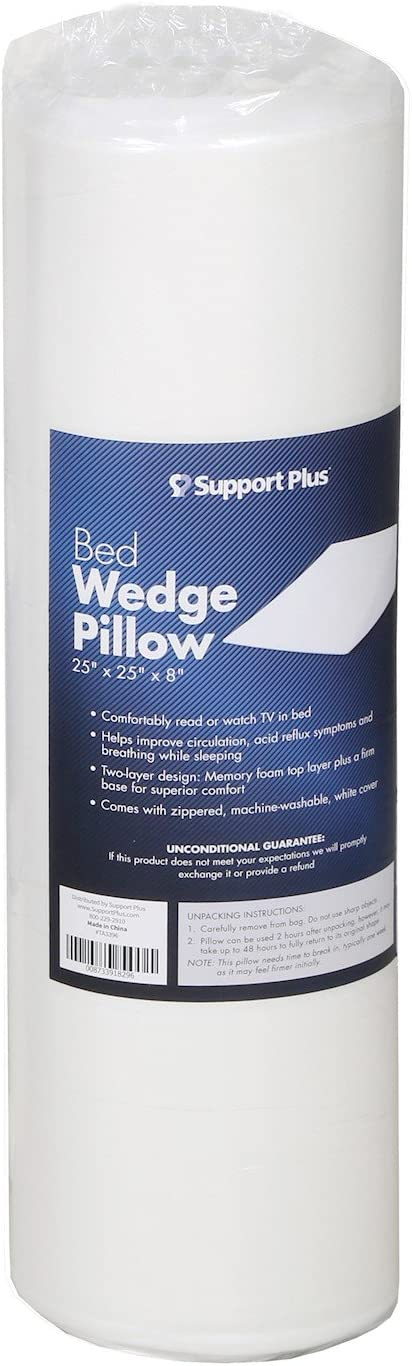 Large Support Plus Bed Wedge Pillow-Premium Hybrid Memory Foam Triangle Cushion