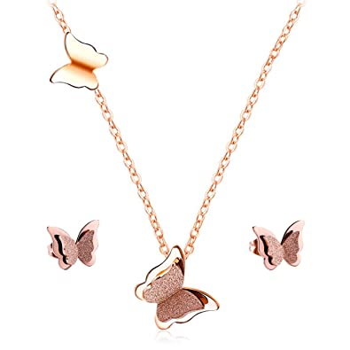 63087f20b T-PERFECT LIFE Cute Butterfly Necklace Earrings for Girls Women, Rose Gold- Plated