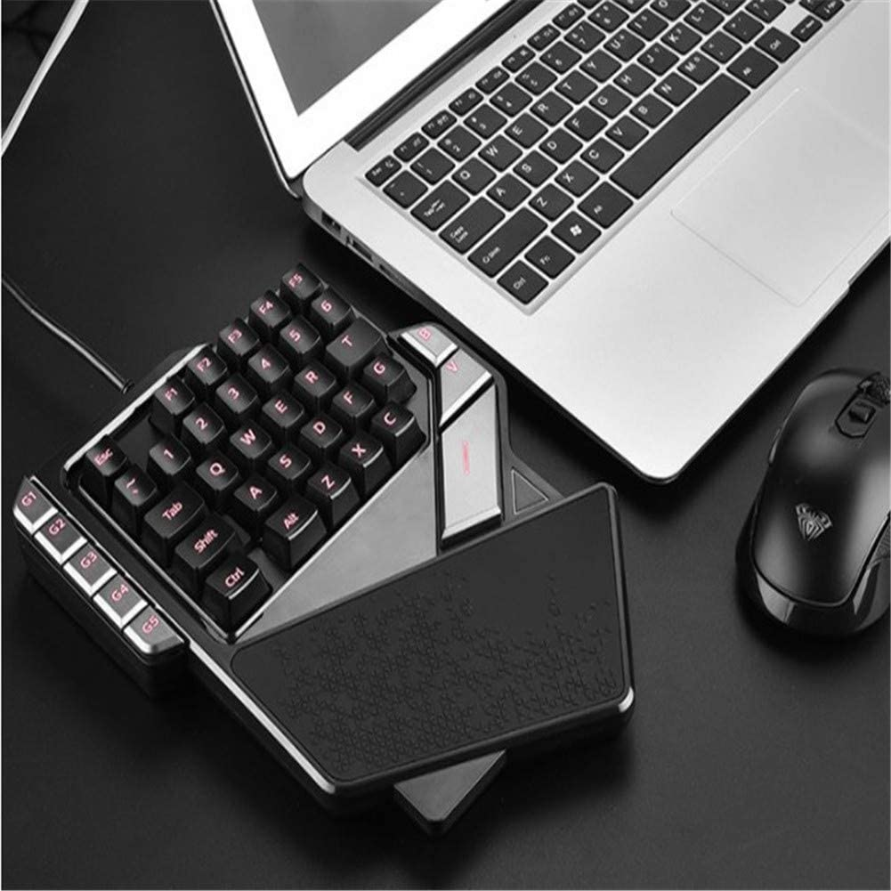 WAWRR Half Keyboard,One Handed Keyboard with Wide Hand Rest,RGB Mechanical Keyboard 38 Keys Switches for iOS//ANDRIOD