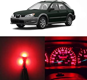 WLJH Red Led Full Conversion Kit for Subaru Impreza 2002-2007 Dash Instrument Panel Gauge Cluster Speedometer Warning Indicator Light Bulbs, Pack of 15