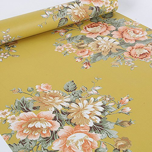 SimpleLife4U Vintage Peony Floral Contact Paper Dark Yellow Peel & Stick Shelf Liner Dresser Drawer Sticker 17.7 Inch By 9.8 Feet