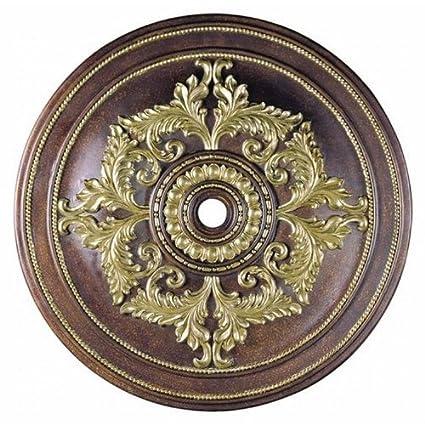 Espuma de poliuretano techo medallón acabado: Palacial bronce con detalles en dorado