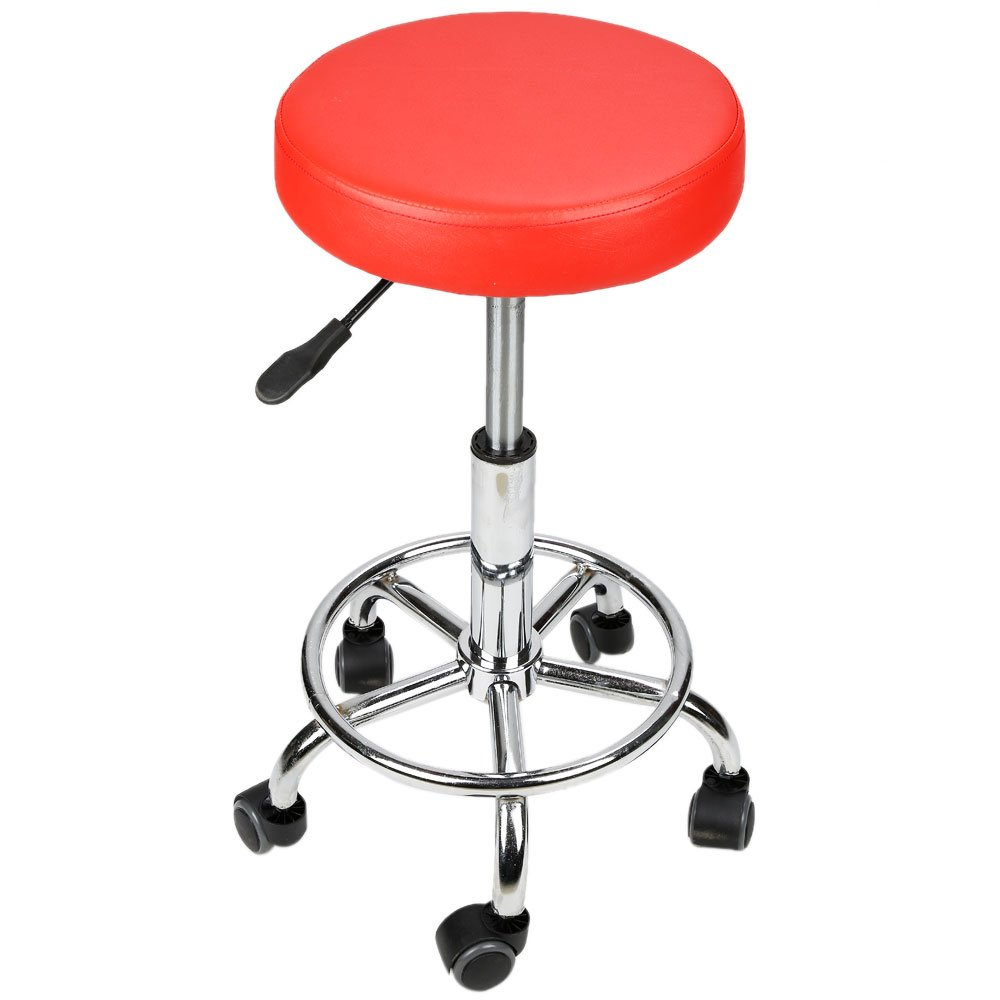Pro Adjustable Barber Salon Work Stool Hydraulic Circular Cushion Rolling Chair (Red)