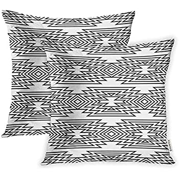 Emvency Set of 2 Throw Pillow Covers Print Polyester Zippered Abstract Black and White Ethnic Pattern Boho Geometric American Pillowcase 18x18 Square Decor for Home Bed Couch Sofa