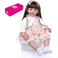 Lixada 24 inch Reborn Baby Doll Big Size Lifelike Silicone Rebirth Dolls Soft Touch Girl Princess Dolls for Kids Birthday Toddler Gift with White Coat Floral Skirt