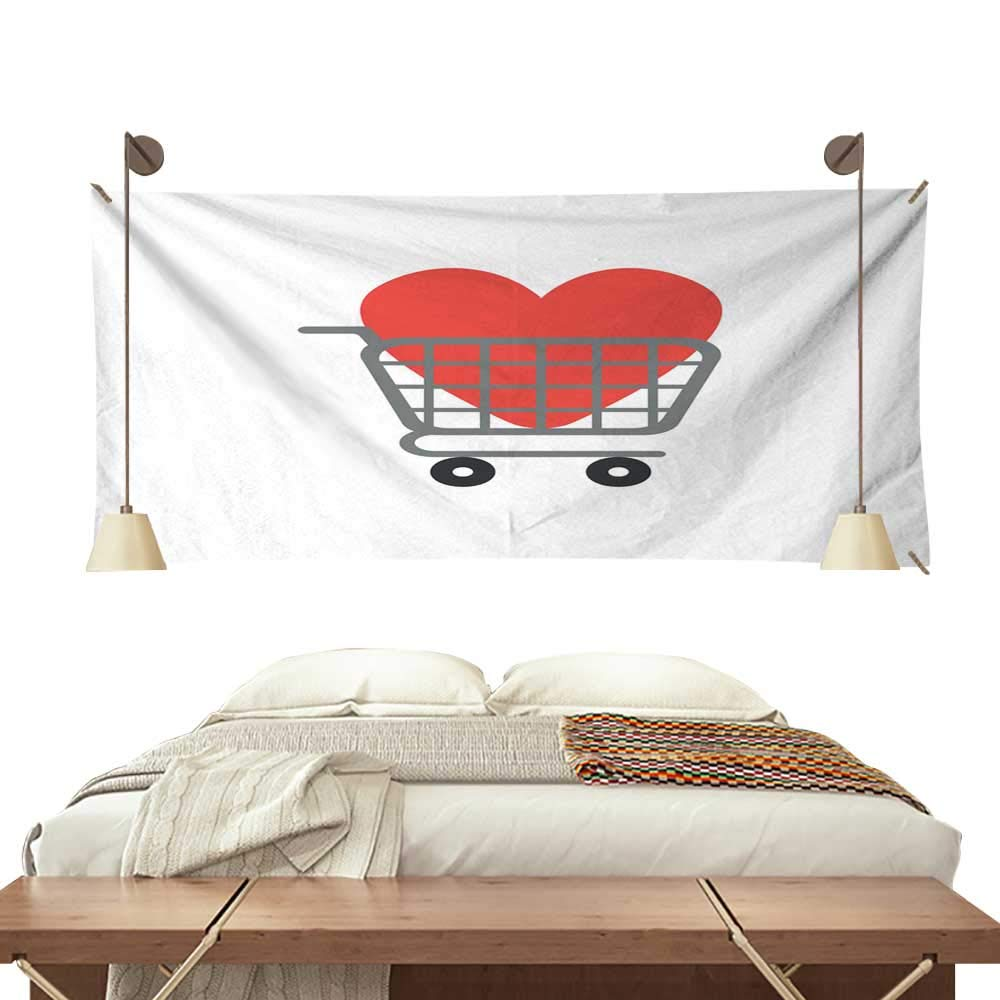 BlountDecor Dormitory Tapestry Flat Design Vector Concept of Heart Inside Shopping cart 72W x 54L Inch