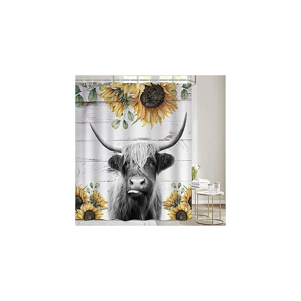 Highland Cow Shower Curtains Sets for Bathroom, Funny Rustic Farmhouse Cattle Bull Farm Animal with Sunflower on Rustic…
