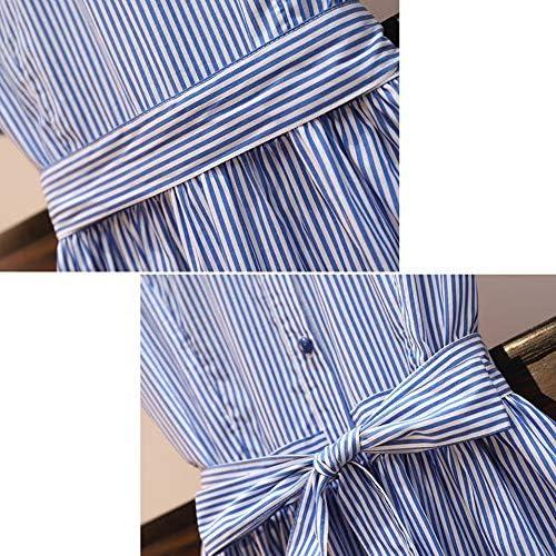 RDD-Dress Kleider for Frauen Gestreift Elegant Kurzarm-Freizeitkleid (Size : XL)