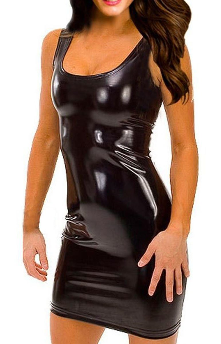 Gain Love Sexy Women's Plus Size Faux Leather Dress and G-string Lingerie Set (M)