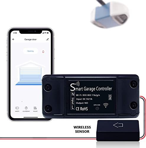 BYF Smart Wi-Fi Garage Door Opener Remote Controller, App Control, Compatible with Alexa, Google Assistant, and Siri, No Hub Required Wireless Sensor Version